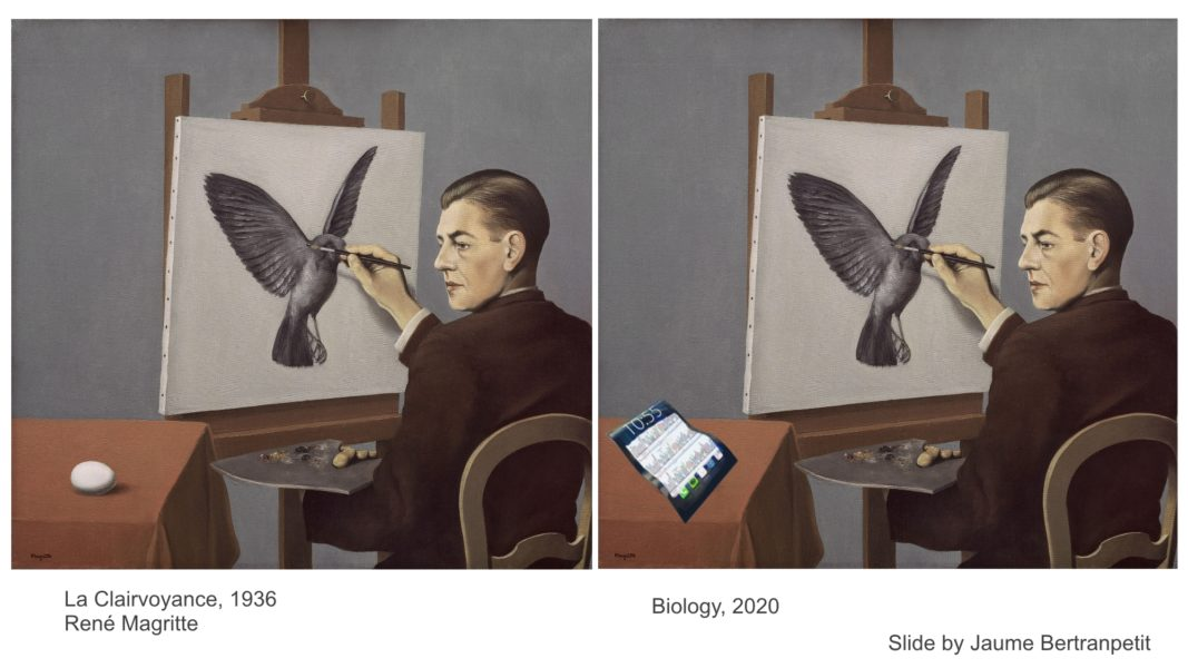 Adaptation of the self-portrait La Clairvoyance from René Magritte, by Jaume Betranpetit. Image of a Powerpoint slide presented by Roderic Guigó.