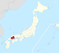 Map of Japan with Hiroshima marked in red. Photo from Wikipedia.
