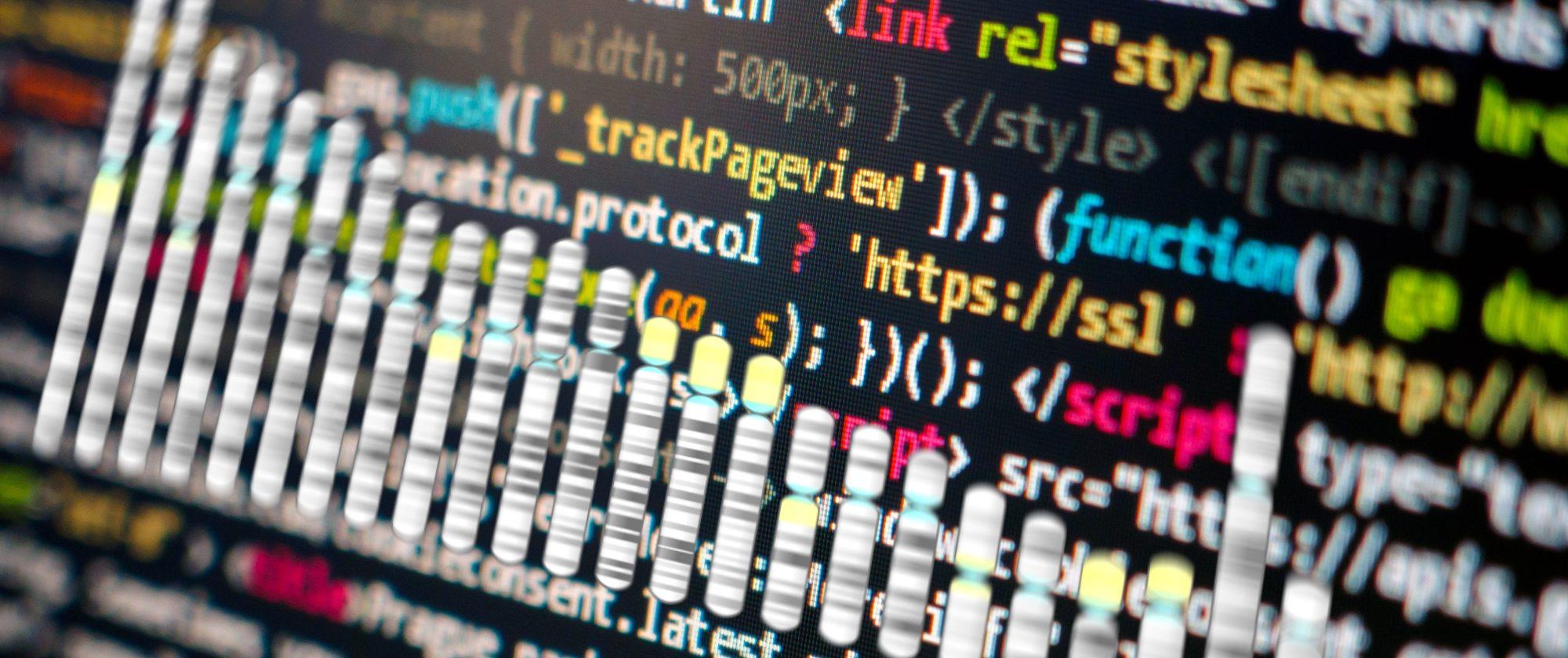 Ideograma de cromosomas humanos sobre un código de software. Imágenes Wikipedia Commons, Libreshot.