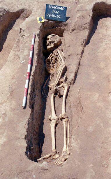 Inhumacions individuals d'època andalusina procedents de les excavacions al carrer Sagunt de València. Enterrats amb el cos recolzat sobre el costat dret i mirant cap al sud (on creien que estava La Meca). Foto de Guillermo Pascual Berlanga.