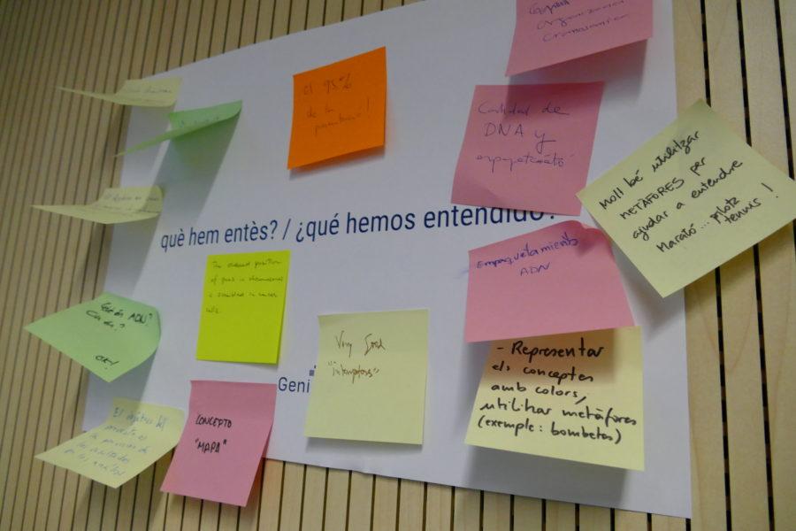 Los participantes del taller señalaron qué conceptos científicos no quedaban claros.