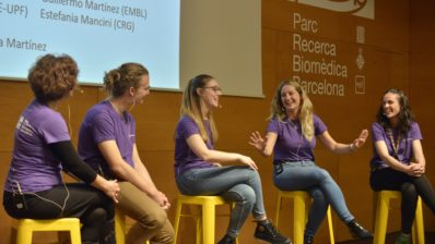Four researchers from the PRBB centres discussed their scientific careers during the outreach event Biojunior, aimed at high school students. Photo by Jordi Casañas/PRBB.