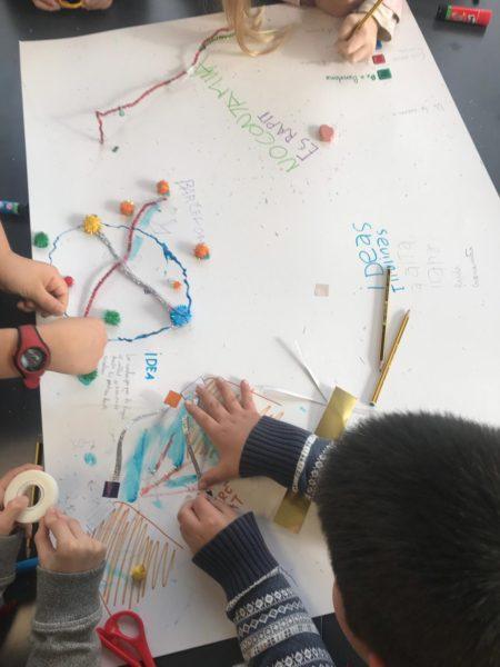 Alumnes de Primària de l'Escola Sagrada Família en un dels tallers de co-creació.