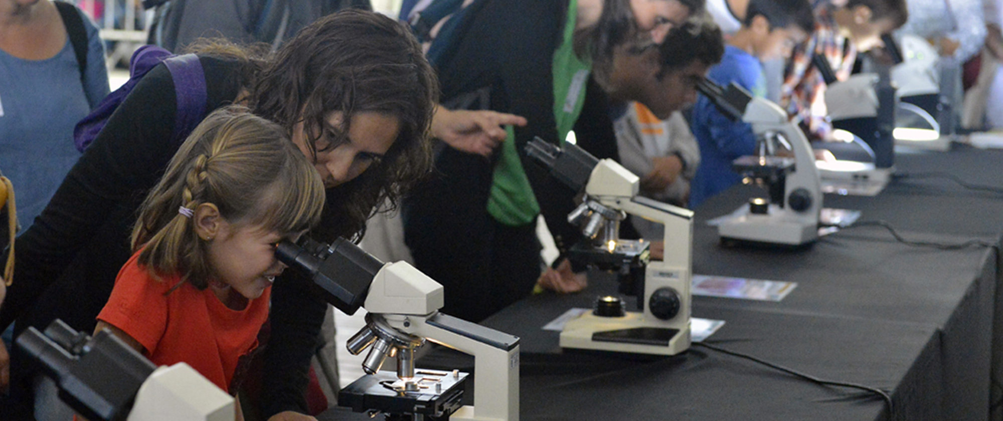 Microscopes, virtual reality, talks, experiments, guided tours... About 2000 people satisfied their scientific curiosity in the PRBB. © PRBB / Jordi Casañas.