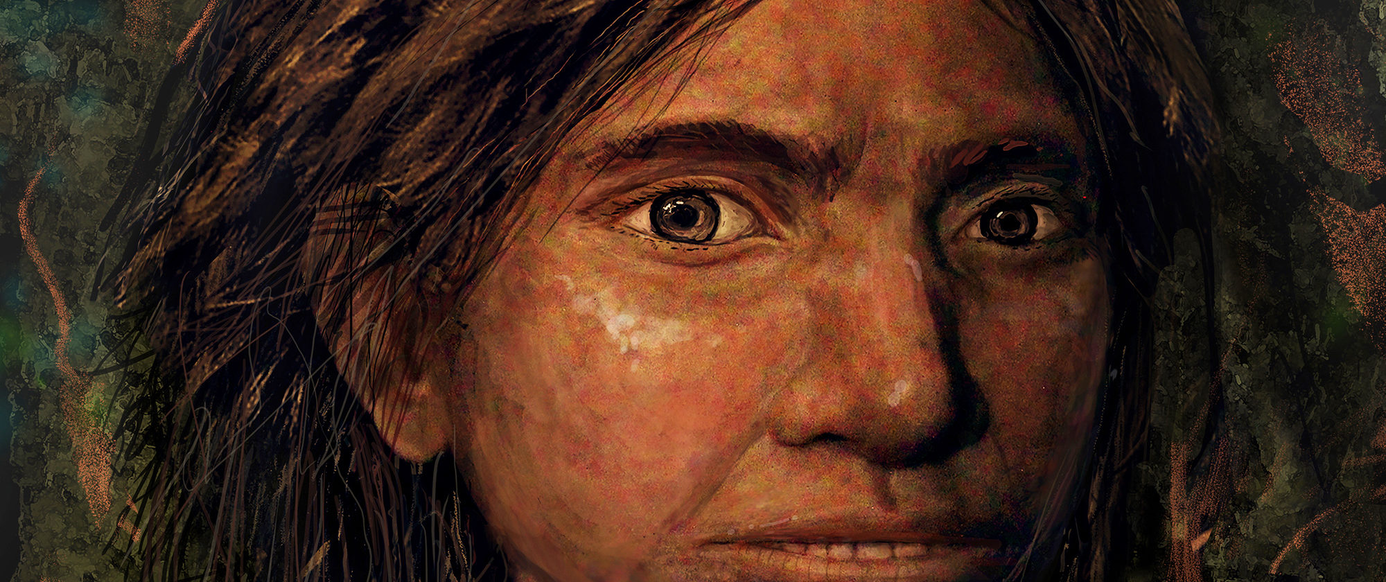 A portrait of a 80,000 year old Denisovan girl, recreated solely from molecular data. Art by Maayan visuals.