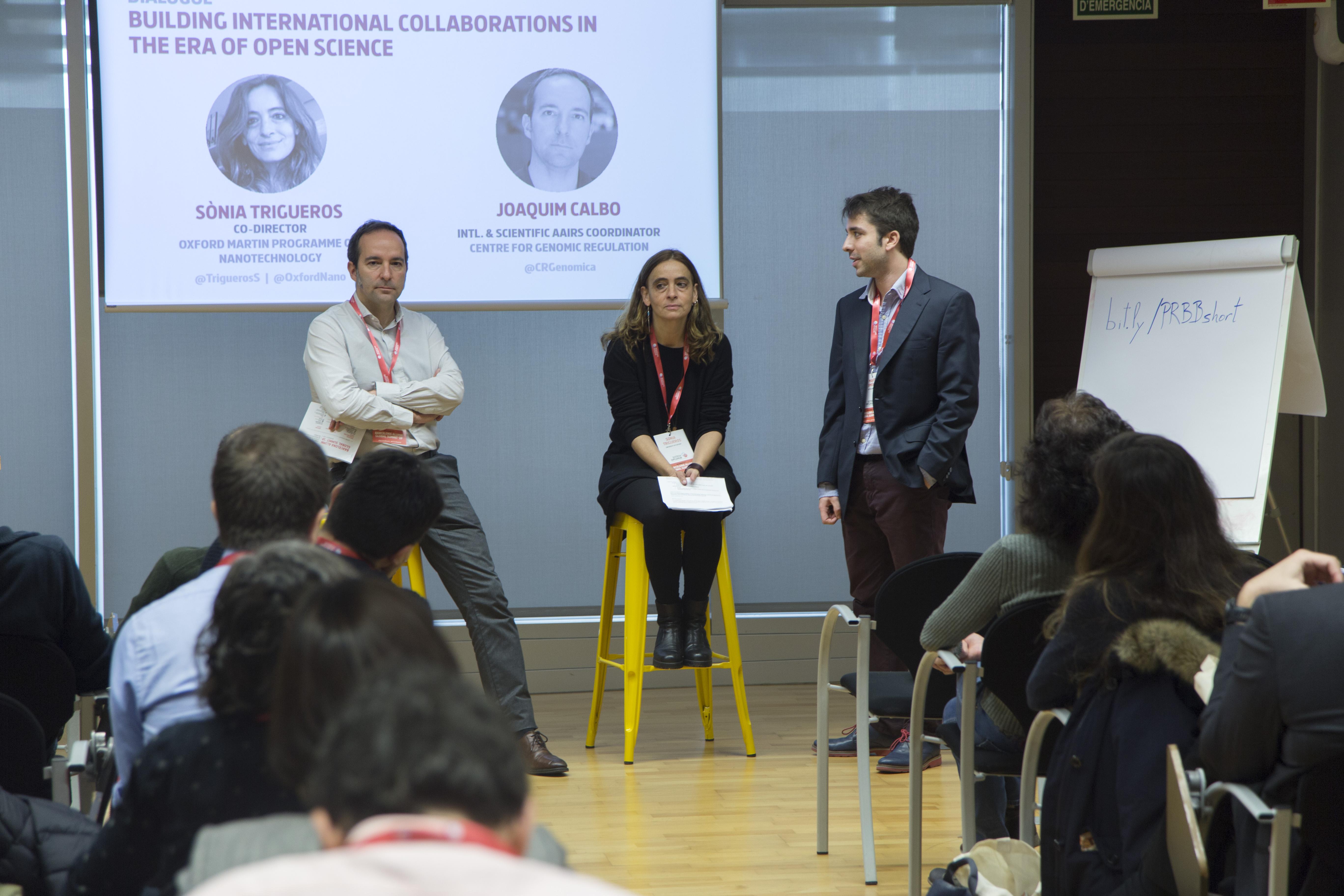 Sonia Trigueros i Joaquim Calbo durant el debat al PRBB.