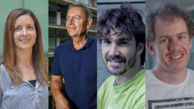 The four PRBB researchers who have received the international grants to finance their research projects. From left to right, Verena Ruprecht (CRG), Óscar Vilarroya (IMIM), Oriol Gallego (DCEXS-UPF) and Ben Lehner (CRG).