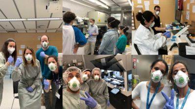 Alguns dels molts voluntaris del CRG que venen tots els dies al PRBB per a realitzar proves sobre el nou coronavirus.