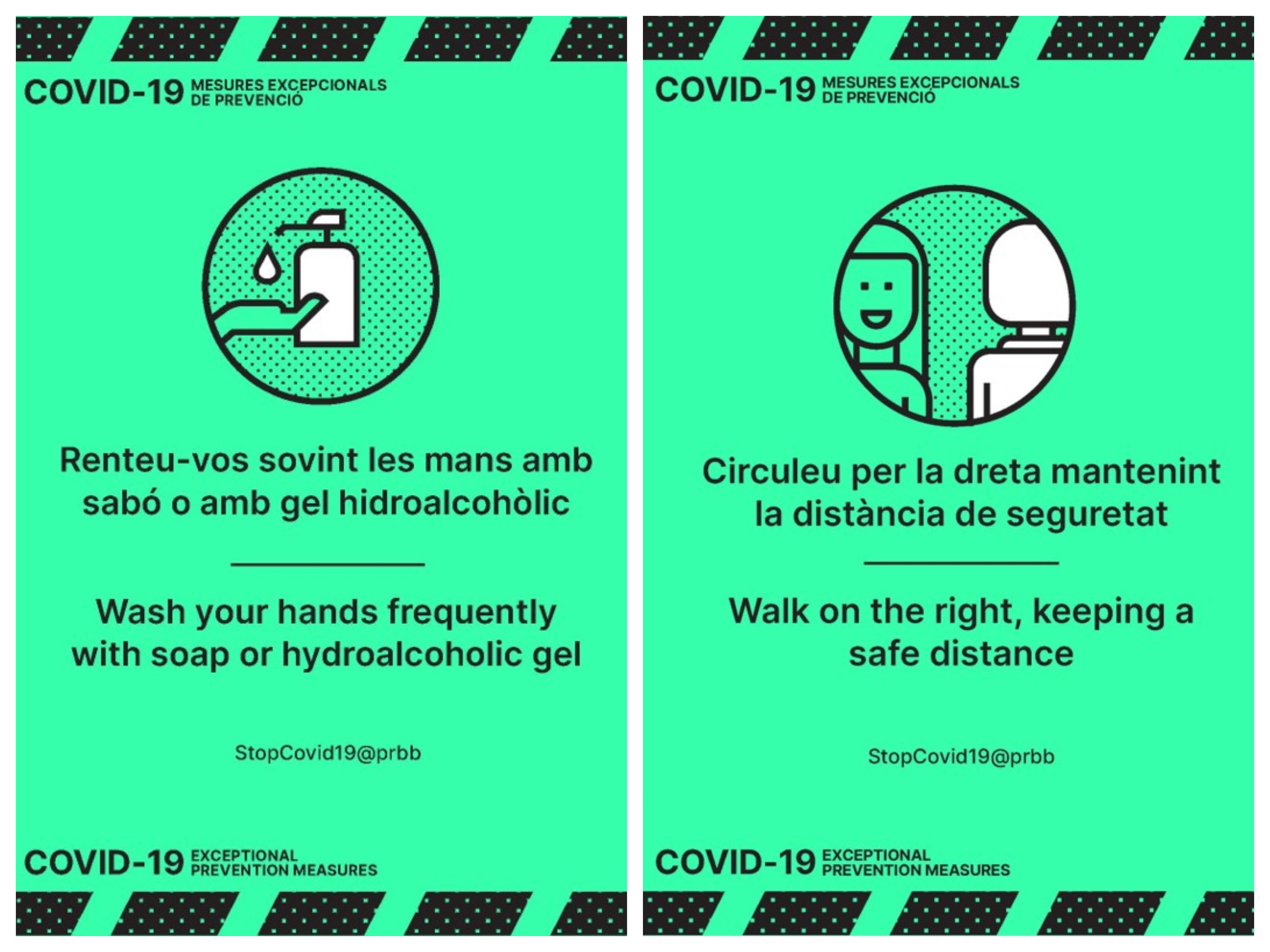 Exemples d'alguns dels missatges de prevenció que es troben a les instal·lacions del PRBB.