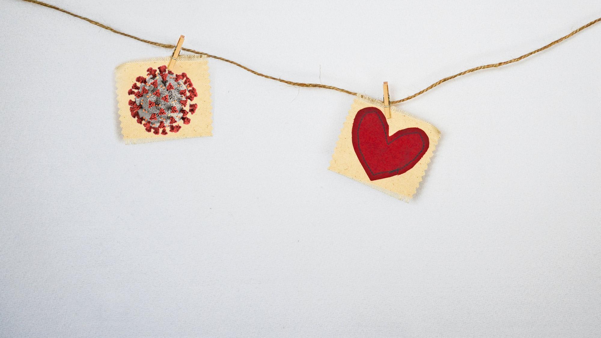 La detección de dos marcadores de daño cardíaco podría servir para realizar un pronóstico de evolución de pacientes de COVID-19. Imagen creada por Mario Ejarque a partir de imágenes de Debby Hudson y CDC para Unsplash