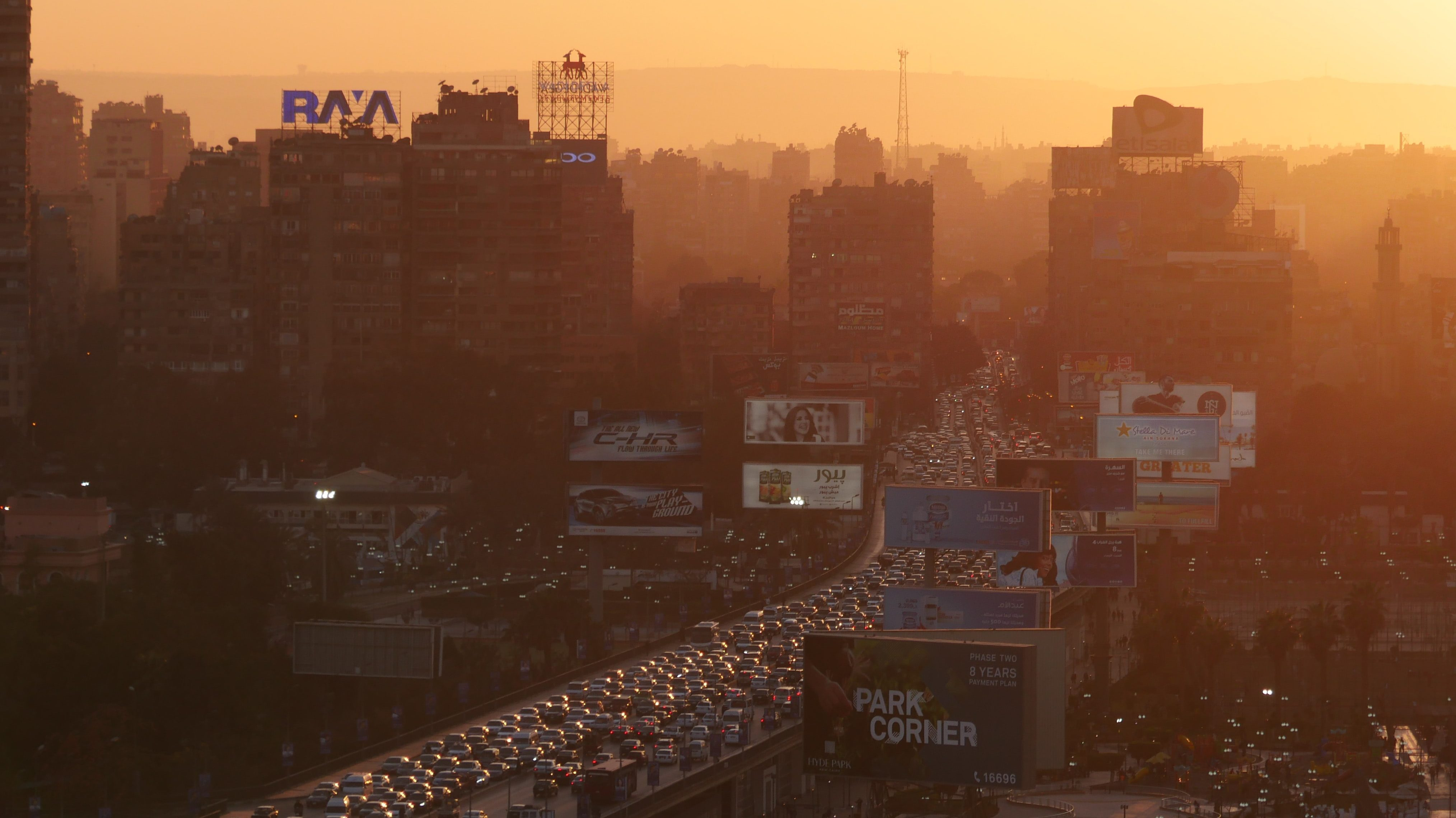 Image of an industrialized city with high motor-vehicle traffic, likely to have high levels of nitrogen dioxide and fine particles PM2,5