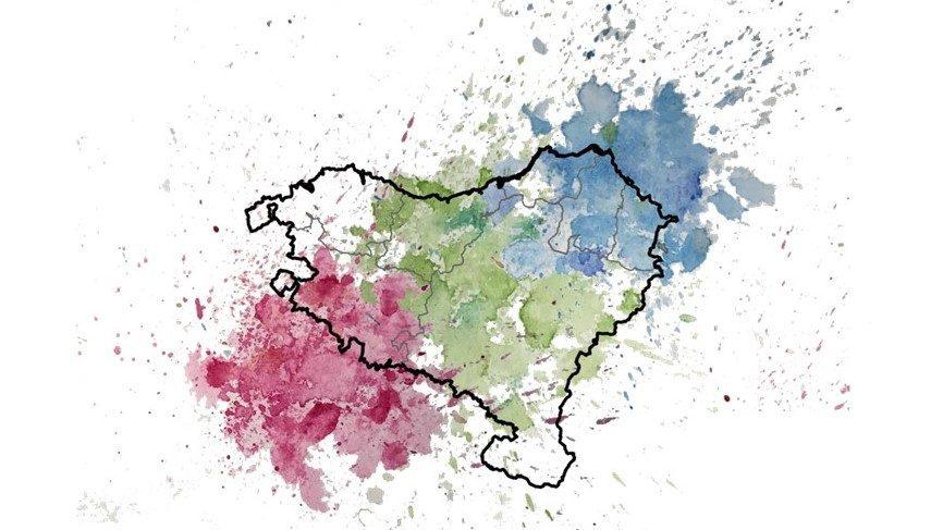 Representació amb colors de la mescla i estructura genètica al País Basc; el verd simbolitzant els bascos, i el blau i vermell la mescla amb les poblacions circumdants. Crèdit: André Flores-Bello.
