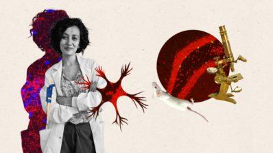 Collage con la imagen de Ana y imágenes de immunofluorescencia, un microscopio y un ratón