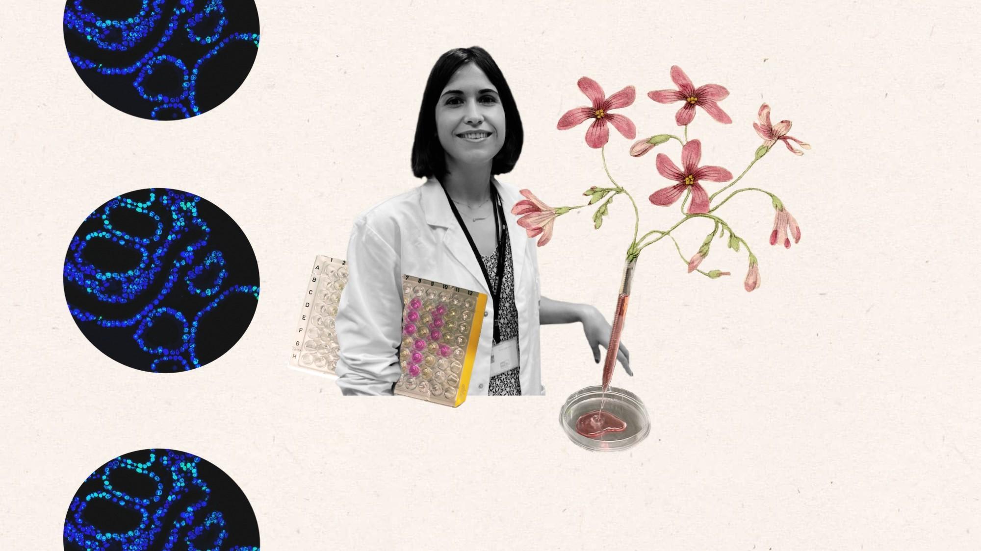 Collage donde se ve Teresa Lobo y algunos de los elementos con los que trabaja como placas, pipetas, etc.