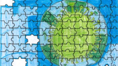 Dibuix infantil que imita on unzzpe on s'hi veu un planeta terra amb la forma del coronavirus. En el puzzle hi falten peces.